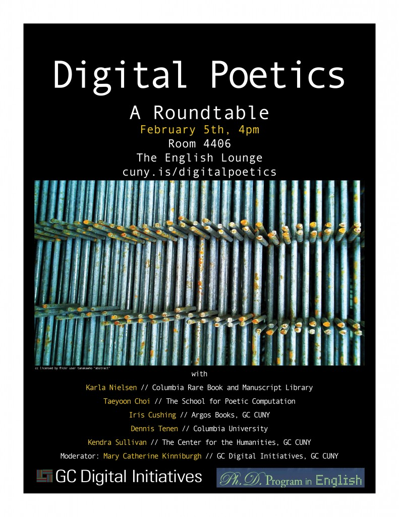 Poster for Digital Poetics, A Roundtable